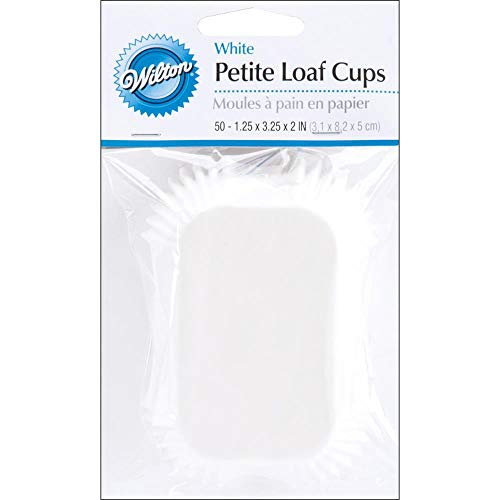 Wilton Mini Loaf Baking Liner/Cups White 50 Pack Bread/Muffins/Cake (12-Pack)