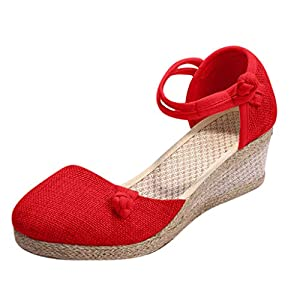 YWLINK Sandalias Mujer TamañO Grande CuñA Alpargatas Plataforma Bohemias Estilo Etnico Vintage Romanas Correa De Tobillo Antideslizante Playa Fiesta De Coctel Casual Zapatos Zapatillas(Rojo,38EU)