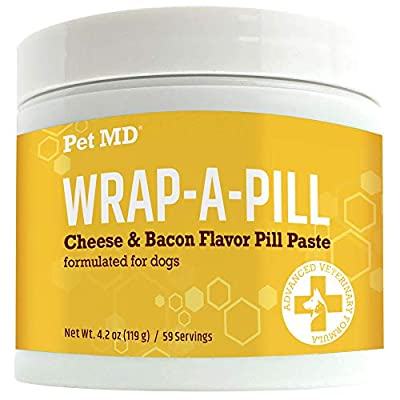 Pet MD Wrap A Pill Cheese & Bacon Flavor Pill Paste for Dogs - Make a Pocket or Pouch to Hide Pills & Medication (4.2 oz)