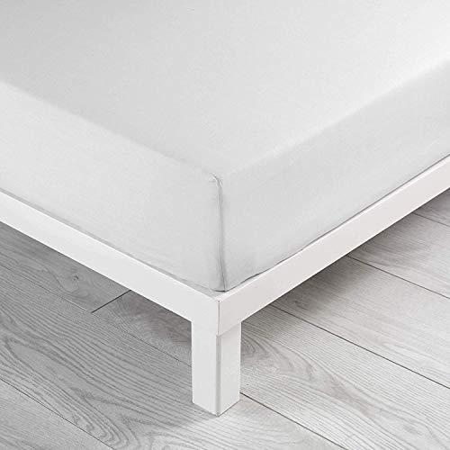 douceur d'intérieur 1640650 Drap Housse Uni Coton 57 Fils Blanc 140 x 190 cm