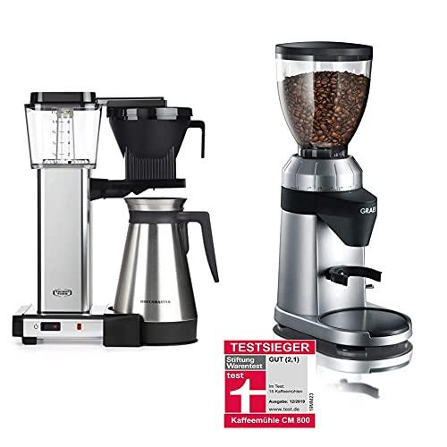 Moccamaster Filter Kaffeemaschine KBGT Thermos, 1.25 Liter, 1450 W, Polished & Graef Kaffeemühle CM 800