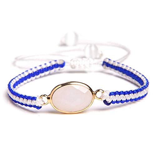 ANGYANG Woven Bracelet,White Blue Rope With White Jade Stone Woven Adjustable Charm Bracelets Exquisite Cute Jewelry Lucky Friendship Gift For Men Women Couples Boy Girl