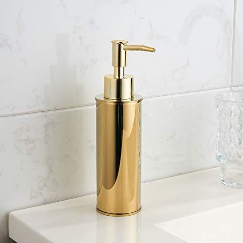 bgl - Dispenser di sapone rotondo per bagno e cucina, colore: oro