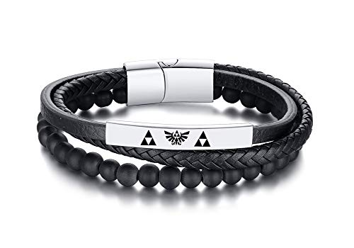 VNOX Stainless Steel Black Onyx Beads The Legend of Zelda Symbol Amulet Jewellery Leather Cuff Braided Bracelet for Men Boy,21cm
