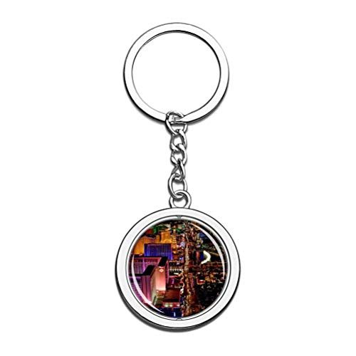 America Usa Las Vegas Keychain Key Chain Souvenir Spin Crystal Metal Stainless Steel Chain City Travel Gift