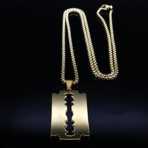 Jun Collares de Acero Inoxidable de Moda para Hombre, joyería de Collares y Colgantes góticos de Color Negro, joyería