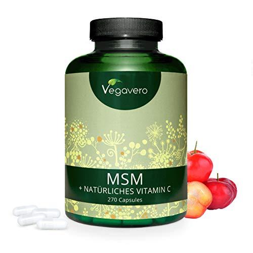 MSM + Vitamina C Natural Vegavero® | 2100 mg | 270 Cápsulas | SIN ADITIVOS | Caída del Cabello + Crecimiento + Fortalecedor | Vitaminas Para el Cabello | Vegano | Combinación Óptima con Biotina
