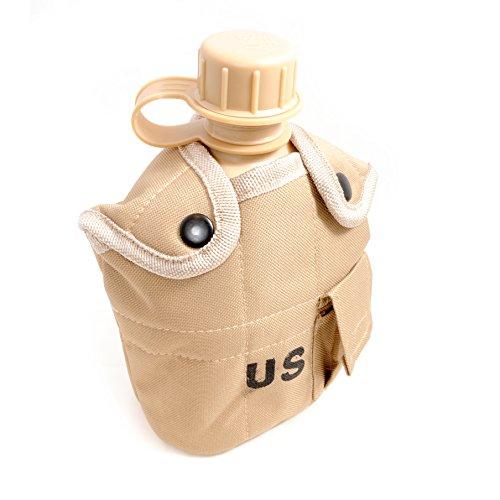 Feldflasche 1 Liter inkl. Trinkbecher (Kochbehälter) aus Aluminium, Bundeswehr-Flasche/Alu Travel Bottle + Stofftasche in beige - Marke Ganzoo