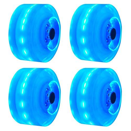 POHOVE 4 Stück Rollschuh-Räder, leuchtend, Skateboard-Räder, Ersatz-Roller, Inline-Skate-Rollen, Blitz für zweireihiges Skaten und Skateboard, Härte 82 A