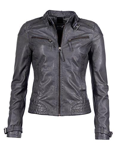 Maze Damen Lederjacke Mit Zwei Brusttaschen Ryana Grey L