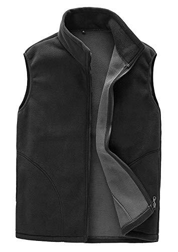 Panegy Gilet Sport Polaire Homme Femme Veste sans Manche Manteau Chaud Automne Hiver Outwear Noir Étiquette XXXL