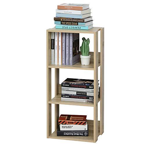 libreria 3 ripiani homcom Libreria Scaffale in Legno a Parete con 3 Ripiani