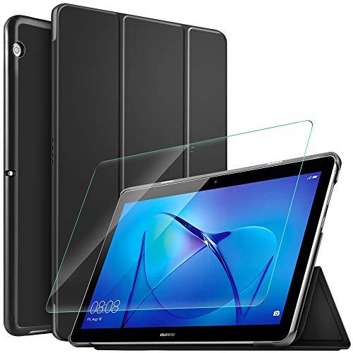 IVSO Custodia Cover per Huawei MediaPad T3 10, Slim Smart Protettiva Custodia Cover in Pelle PU con 2.5D, 9H Vetro Temperato, Nero + 1 Pack