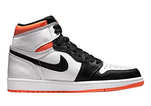 Jordan 1 High Retro Electric Orange Baloncesto para hombre 555088-180, Blanco/Naranja/Negro, 42 EU