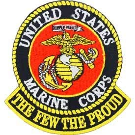 United States Military Patch, USA Marine Corps The Few The Proud - Embroidered Sew On/Iron On Patriotic Patch - 3'