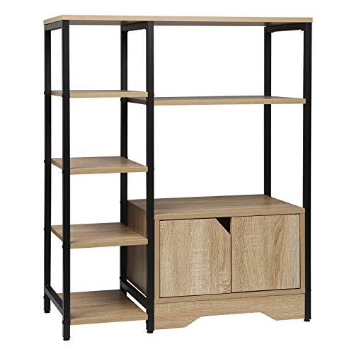 WOLTU Libreria Moderna Design, 80 x 35 x 97 cm, Scaffale Portaoggetti per Libri CD, con Ante in Legno e Metallo, Rovere Chiaro RGB08hei
