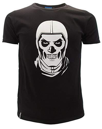 Epic Games T-Shirt Originale Fortnite Skull Trooper Maglia Nera Maglietta Bambino Ragazzo (13-14 Anni)