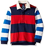 Tommy Hilfiger Boys' Adaptive Rugby Shirt with Magnetic Buttons, Red Coat Large