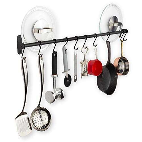 Wallniture Lyon Steel 32#039#039 Wall Mounted Kitchen Rail with 10 Hooks for Hanging Pots and Pans Pantry Organization and Storage Black Utensil Holder