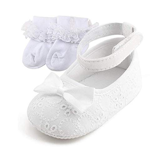 OOSAKU Baby Mädchen Neugeborenen Schuhe Taufe Schuhe rutschfeste Turnschuhe, Schuhe & Socken1, 3-6 Monate