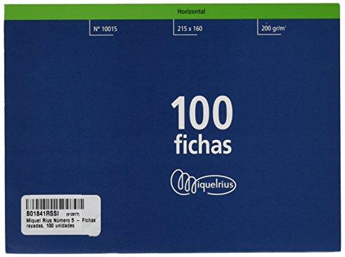 Miquelrius Número 5 - Fichas Rayadas, 100 Unidades, 160 x 215 mm