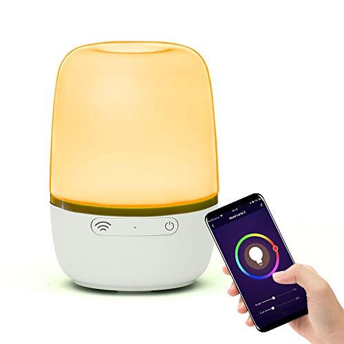 Brilex Lámpara de Mesa Smart WiFi, Lámpara de Mesilla que Funciona con Alexa Google Home, Noche LED Regulable, Luz de Noche Blanca y RGB que Cambia de Color para la Habitación Niños