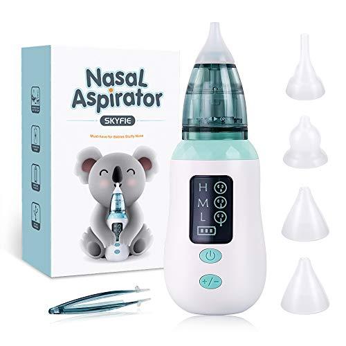Baby Nasensauger, Elektrischer Nasensauger Ohrenschmalz-Entferner 3 Saugstufen LCD Bildschirm Hygiene Nasensauger Baby Staubsauger mit 4 wiederverwendbaren Spitzen für Säuglinge Kleinkinder Sicher