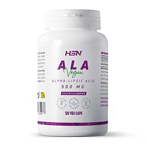 Ácido Alfa Lipoico de HSN   ALA 500mg   Antioxidante + Eleva los Niveles de Glutatión + Antienvejecimiento   Suministro para 4 Meses   No-GMO, Vegano, Sin Gluten, Sin Lactosa   120 Cápsulas Vegetales