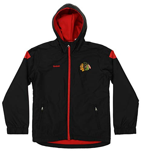 Reebok Chicago Blackhawks NHL Big Boys Youth Full Zip Midweight Shockwave Jacket, Black (Medium 10-12)