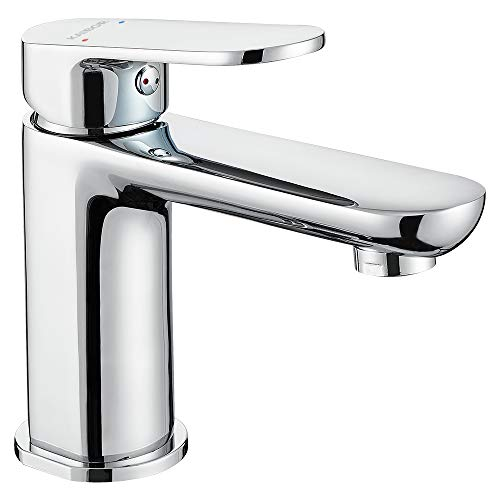 KAIBOR Chrom Waschtischarmatur für Badezimmer Waschbacken, Messing Verchromt Wasserhahn Bad, Einhand-Waschtischbatterie