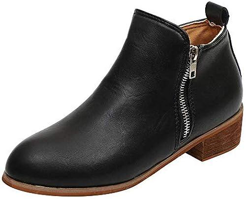 ZHRUI Frauen Mitte Fersen Martin Schuhe Schnalle Schnalle Schnalle Faux Warme Stiefel-Reißverschluss Ankle Stiefel-Martin Stiefel-Cool Wildleder Stiefel (Farbe   Schwarz  Großhandelspreis