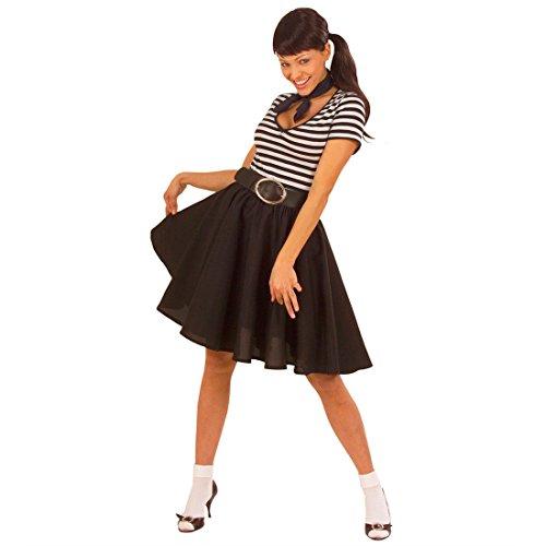 NET TOYS Jupe Fifties Rock n Roll Jupe Chasuble Noire années 50 60 Petticoat Jupe Femme Rockabilly Jupon Grease Accessoire déguisement soirée à thème