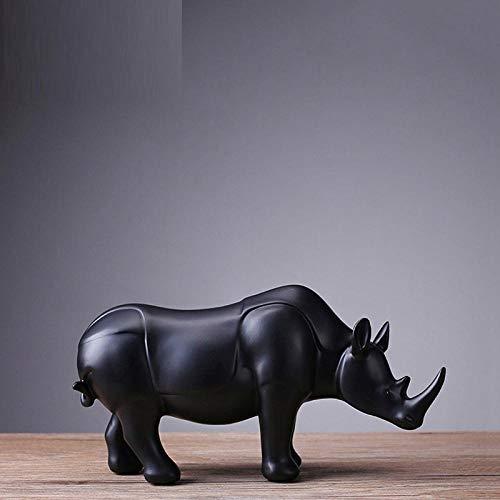 BGHYU Odern Abstrarblack Rhinoceros Statue Adornos de Resina Accesorios de decoración del hogar Regalo Escultura geométrica -1_