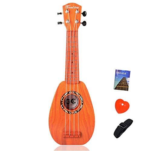 Satisfounder 17 Inch Kids Ukulele Guitar Toy 4 Strings Mini Children Musical Instruments Educational Learning Toy for Toddler Beginner with Picks and Strap for Beginner Starter (Sequoia)