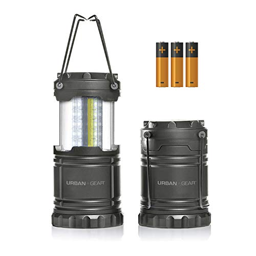 Portable Pop Up Indoor/Outdoor Camping Lantern + Waterproof Emergency Flashlight w/LED Lights (300 Lumens) for Backpacking, Hiking, Fishing & Outdoors (Batteries Included), Single