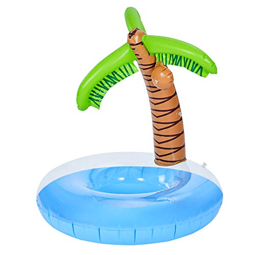 MorTime Palm Tree Pool Float, 47' Inflatable Palm Swimming Raft, Summer Beach Party Palm Ride-On with A Detachable Play Ball