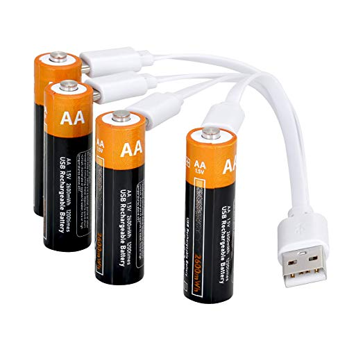 Lithium AA Akkus Wiederaufladbare batterien 1,5V 2600mWh mit 4-in-1 USB Typ-C Kabel Schnellladung in 2 Stunden,1200 Zyklen recycelbar-4 Stück