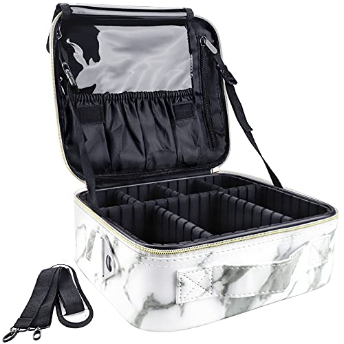 GZCZ Travel Makeup Bag Train Case 10.2'' Cosmetic Bag Organizer Make up Brush Organizer Portable Artist Storage bag with Adjustable Dividers and shoulder strap for Make up Accessories (Marble White)