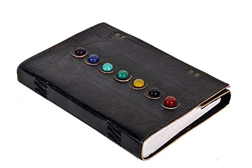 Leather Book of Shadows Journal The Charmed Blank Witch Gifts for Women Chakra Notebook Supernatural Celtic Hocus Pocus DND Spell Pagan Supplies Diary 10 x 7 inches (Black)