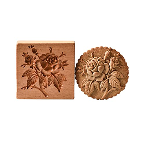 Cortador de galletas, de madera para sellos de galletas, para manualidades, decoración de galletas, cortador de galletas para hornear herramienta de galletas