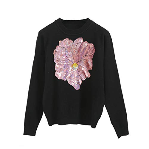 Spring Street Style Women Knit Sweater Sequins 3D Big Flower Beading Knitwear Pullovers Black S