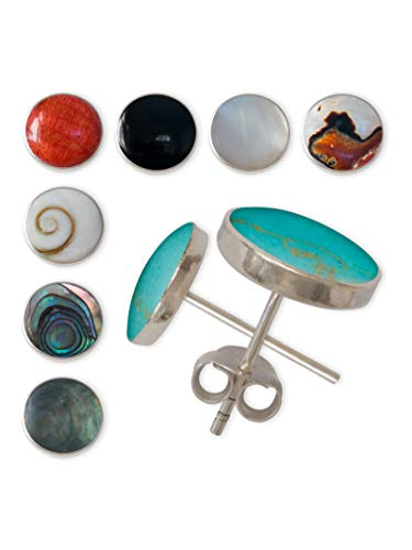 Fly Style Ohrstecker aus 925 Silber mit Muschel-Inlays - 8 Modelle - 6 bis 12 mm breit, Grösse:6 mm, Farbwahl:helles Perlmutt