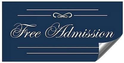 96x48 Free Admission Classic Navy Heavy-Duty Industrial Self-Adhesive Aluminum Wall Decal CGSignLab