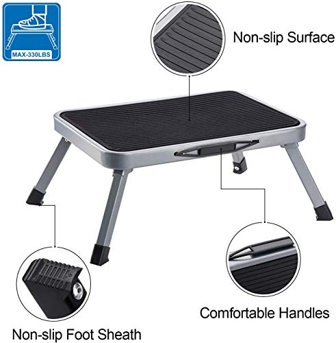 Delxo Step Stool Portable Lightweight Folding Steel Step Ladder with Non Skid Rubber Platform Stable One Step Ladder 300Pound Capacity
