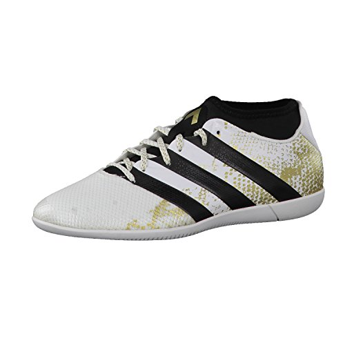 adidas Herren Ace 16.3 Primemesh IN Fußballschuhe, Weiß (FTWR White/Gold Metallic/Core Black), 44 EU