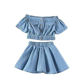 Toddler Baby Girl 2Pcs Denim Skirt Set Summer Off Shoulder Button Crop Tops Shirts+High Waist Tutu Skirts  Blue,110