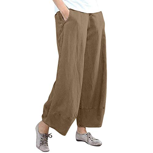 WOZOW Damen Weites Bein Palazzo Hosen Lang Solid Einfarbig Loose Anzughose Casual Lose Long Stoffhose Weich Straight Leg Trousers High Waist Strand Freizeithose Arbeitskleidung