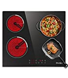 Electric Cooktop 24 Inch,Drop-in Electric Stove Top With 4 Burners 220-240V, Sensor Touch Control,Vitro Ceramic Glass, Timer, Kids Lock, 9 Heating Level, Hard Wired