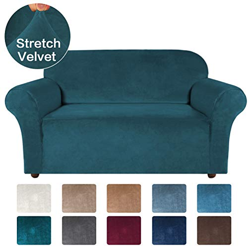 Turquoize Velvet Sofa Slipcover Stretch Couch Covers for 2 Cushion Couch Loveseat Cover with Non Slip Straps Furniture Protector, Couch Covers for Dogs, Form Fit Couch Slipcover (Medium, Gray)