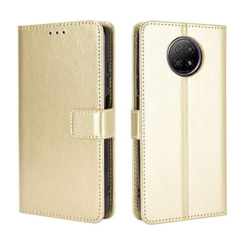 BellaCase Funda Xiaomi Redmi Note 9 5G [Pata de Cabra] [Ranuras para Tarjetas] [Funda con Tapa magnética] Compatible con el teléfono Inteligente Xiaomi Redmi Note 9 5G(Dorado)